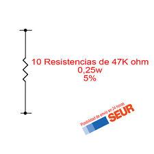 10X Resistencias de carbon 47K Ohm 1/4W 0,25W 5%