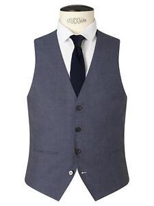 Kin Newick Panama Weave Slim Fit Waistcoat, Light Blue -  Size 36R RRP £40 BNWT