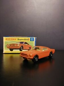 Matchbox Lesney Superfast #8 Ford Mustang Orange/Red In Original Box