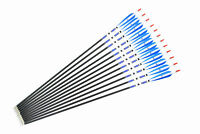 """31"""" Sports Archery Blue Turkey Feathers Carbon Arrows Spine 500 F Bow Hunting"""