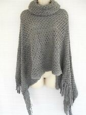 Pull Over Turtle Neck Sleeveless Wrap Cape Sweater Top Shawl Coat One Size Gray