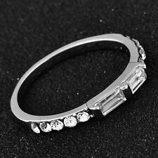 Trendy White Gold Filled Clear Cubic Zirconia For Womens Band Ring Size 5