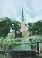 "perfect 24x36 oil painting handpainted on canvas ""Shakespeare's Church""@N6079"