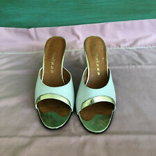 Vintage 1950s Balizza brand mules in white and gold