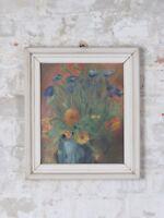 60er 70er Jahre Ölbild Bild Mid Century Design Vintage Blumen Rahmen 60s 70s