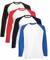 Mans Mens Contrast Long Sleeve Cotton Baseball Tee T-Shirt Tshirt No Logo