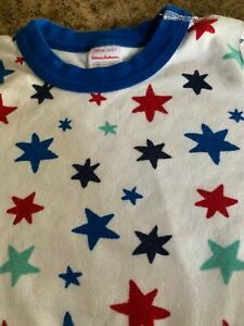 UNISEX HANNA ANDERSSON SHORT KNIT PAJAMAS SIZE 6-7 YRS RED/BLUE/GREEN STARS