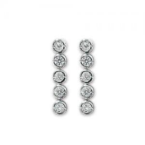 Sterling Silver CZ Drop Stud Earrings, Round, Butterfly, G5019