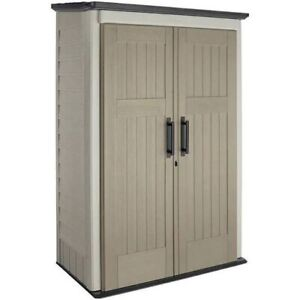 New Rubbermaid 81 X 4.2 Ft. Double Door Plastic Storage Shed, Beige And Brown