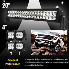 "24inch LED Light Bar Spot Flood Combo + CREE 4x 4"" Pods Ford SUV 4WD Jeep UTE 20"
