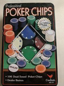 Cardinal Professional POKER CHIPS & Dealer Button Tin 100 Dual-Toned Chips NIB