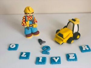 Unofficial Bob the Builder Scoop loader digger truck personalised cake topper