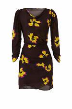 A.L.C. Women's Dress Brown Size 8 Floral Print Cowl Neck Silk Sheath $495- #481