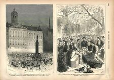 Kermesse Hussards Palais du Roi Amsterdam Pays-Bas / Paris Bellini GRAVURE 1876