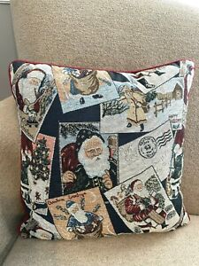 "Santa Claus Christmas Post Card Tapestry Holiday 16"" x 16"" Pillow"