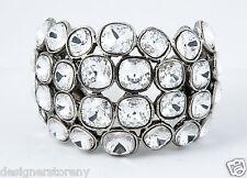 Clara Kasavina Jackie Bracelet Cuff Antique Silver w/Clear SWAROVSKI Stones
