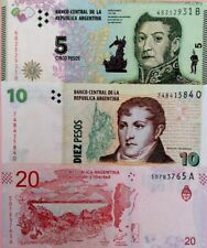 ARGENTINA NEW 5 10 20 Pesos GREAT COLOURFUL UNCIRCULATED BANKNOTES