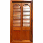 Large Antique Anglo Indian Teak Louvered Double Door with Frame 19th century