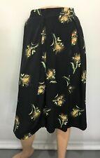 LuLaRoe Womens 2XL Madison Black Yellow Floral Pleated Skirt Below Knee-Length