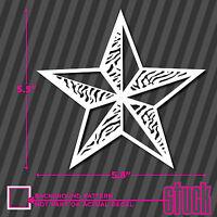 Nautical Star Zebra Pattern - vinyl decal sticker bumper car window truck