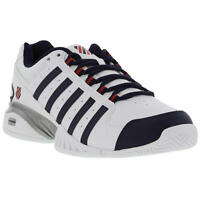 K-Swiss Receiver III Omni Mens White Leather Tennis Shoes Trainers Size UK 7-14