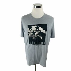 Under Armour Heat Gear Freedom Eagle Graphic Gray T-Shirt Men's Large L