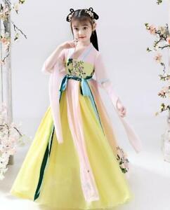 Girls Dress Summer Children's Hanfu Costume Dress Skirt Chinese Retro Fairy Set