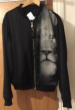 Versus Versace Noir Délavé Lion Veste Aviateur UK 40/IT 50/L, UK 42/IT 52/XL