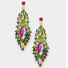 "3"" Long Green Pink EmerAld Fuchsia Vitrail Dangle Crystal Pageant Earrings"