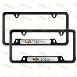 For CADILLAC Black White Metal Stainless Steel License Plate Frame NEW 2PCS