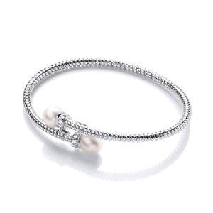 Sterling Silver Bangle Cubic Zirconia Freshwater Pearl Wire Bracelet J JAZ Elina
