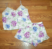 Valerie Stevens Camisole Shorts Set Women's Small Floral Pink Lace Trim