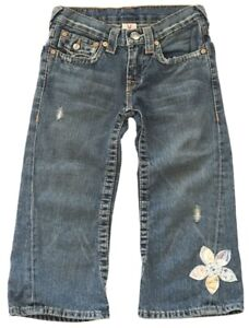 VHTF: True Religion ✪ Joey Flower Crop Jeans ✪ in Med Blue ✪ Girl's 12 NWOT $138