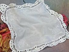 """Antique fine cotton Batiste hand embroidery Tape-Work Lace fabric for Dolls 15"""""""