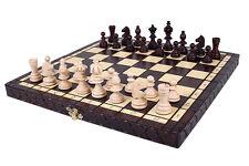 Burned folding wooden chess set London-beautiful design,insert tray -GIFT ITEM