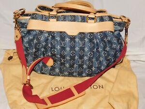 AUTHENTIC VINTAGE LOUIS VUITTON TRUNKS & BAGS DENIM SATCHEL/TOTE PURSE