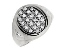 Men's Solid 10K White Gold Oval Shape Top Genuine Diamond Pinky Ring 0.25ct.