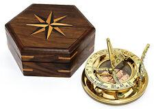 Gilbert Brass Decorative Sundial Compass with Rose Wood Box