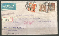 DENMARK / USA. 1940. WW2. REGISTERED CENSORED AIR MAIL COVER TO NEW YORK. GERMAN