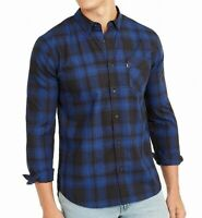 Levi's Mens Shirt Caviar Blue Size 2XL Button Down Woven Plaid Classic $54 059