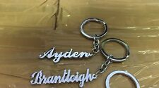 Set Of 2 Personalise Key Chain With Your Name Hand Carved Silver Color