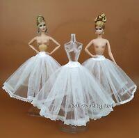 3 PCS White Petticoat Fits Silkstone Barbie Fashion Royalty FR UNDER SKIRT SLIP