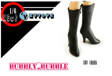 1/6 Black Widow Catwoman BLACK High Heeled Leather Boots W/ Joints SHIP FROM USA