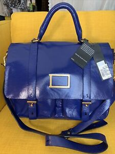 NWT Marc by Marc Jacobs Werdie Navy Patent Leather Messenger Bag