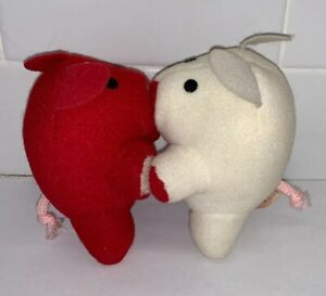 "Applause 1985 Kissing Pigs Toy Red White Soft 4"" Tall Plush Piggies Attachable K"