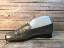 MOVE Wmn sz 39/ 8 Gold Metallic Slip On Loafers Shoes Flats
