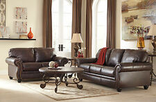 LEYTON Traditional Living Room Couch Set - NEW Real Brown Leather Sofa Loveseat