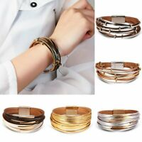 Women Multi-layer Magnetic Clasp Leather Bracelet Men Wristband Handmade Party
