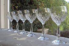 More details for set of 6 large vintage cut crystal wine glasses made in lead crystal.