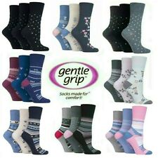 12 PAIRS OF LADIES GENTLE GRIP NON-ELASTIC COTTON SOCKS 4-8 WHOLESALE JOB LOT